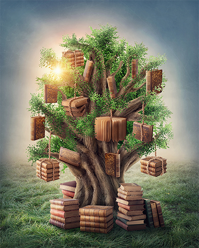 Painting of a tree with books hanging from it.